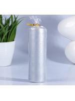 Свеча цилиндр парафиновая цвет Серебро 4х12 см
