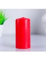 Свеча цилиндр парафиновая цвет Красный 6х12,5 см