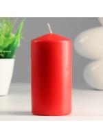 Свеча цилиндр парафиновая цвет Красная 7х14 см
