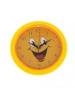 Часы настенные круглые Смайлик с цифрами темный циферблат 23х23 см