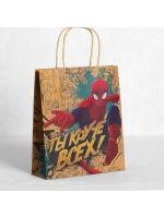 Пакет подарочный вертикальный крафт Человек-Паук 23 х 27 см