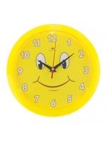 Часы настенные круглые Смайлик с цифрами светлый циферблат 23х23 см