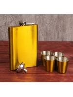 Подарочный набор 6 в 1 фляжка 270 мл воронка 4 рюмки золотой 18 х 24 см