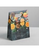 Пакет подарочный новогодний с клапаном Счастливого Нового года с шишками и мандаринами 26 × 32 × 12 см