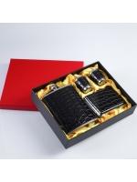 Подарочный набор 4 в 1 Черный питон фляжка 240 мл 2 рюмки портсигар чёрный