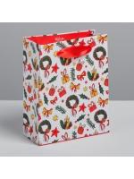 Пакет подарочный новогодний ламинированный вертикальный Подарки 5,5 × 12 × 15 см