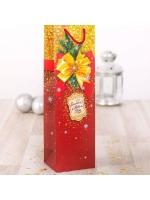 Пакет подарочный под бутылку ламинированный С новым годом 9 x 36 x 10 см