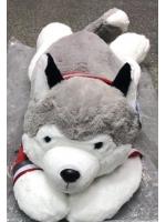 Собачка мягкая Хаска лежачая 65 см в свитре Хаски