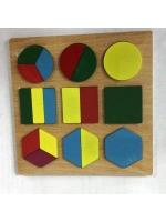 Деревянная игрушка геометрические фигуры в рамке 15 х 15