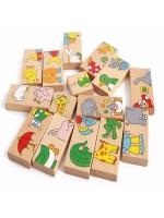 Домино детское animal в деревянной коробке